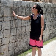 Heather Parsons admires the pyramid at Chichen Itza