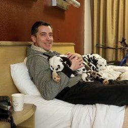 Brad and Hazzard enjoy pet friendly hotel