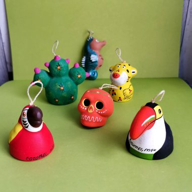 Roguetrippers picked up handmade Christmas ornaments as travel souvenirs while on vacation in Cozumel Mexico
