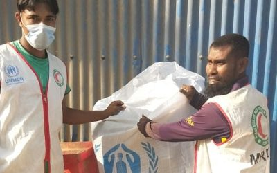 Emergency aids supplied to fire-affected refugees at Nayapara refugee camp, Bangladesh