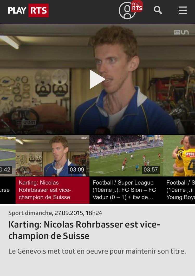 Reportage RTS sur le coach Karting Nicolas Rohrbasser