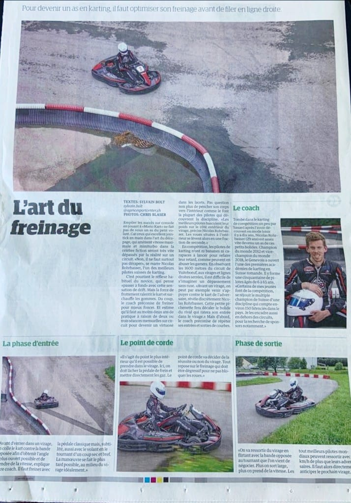 Article karting sur journal Le Matin