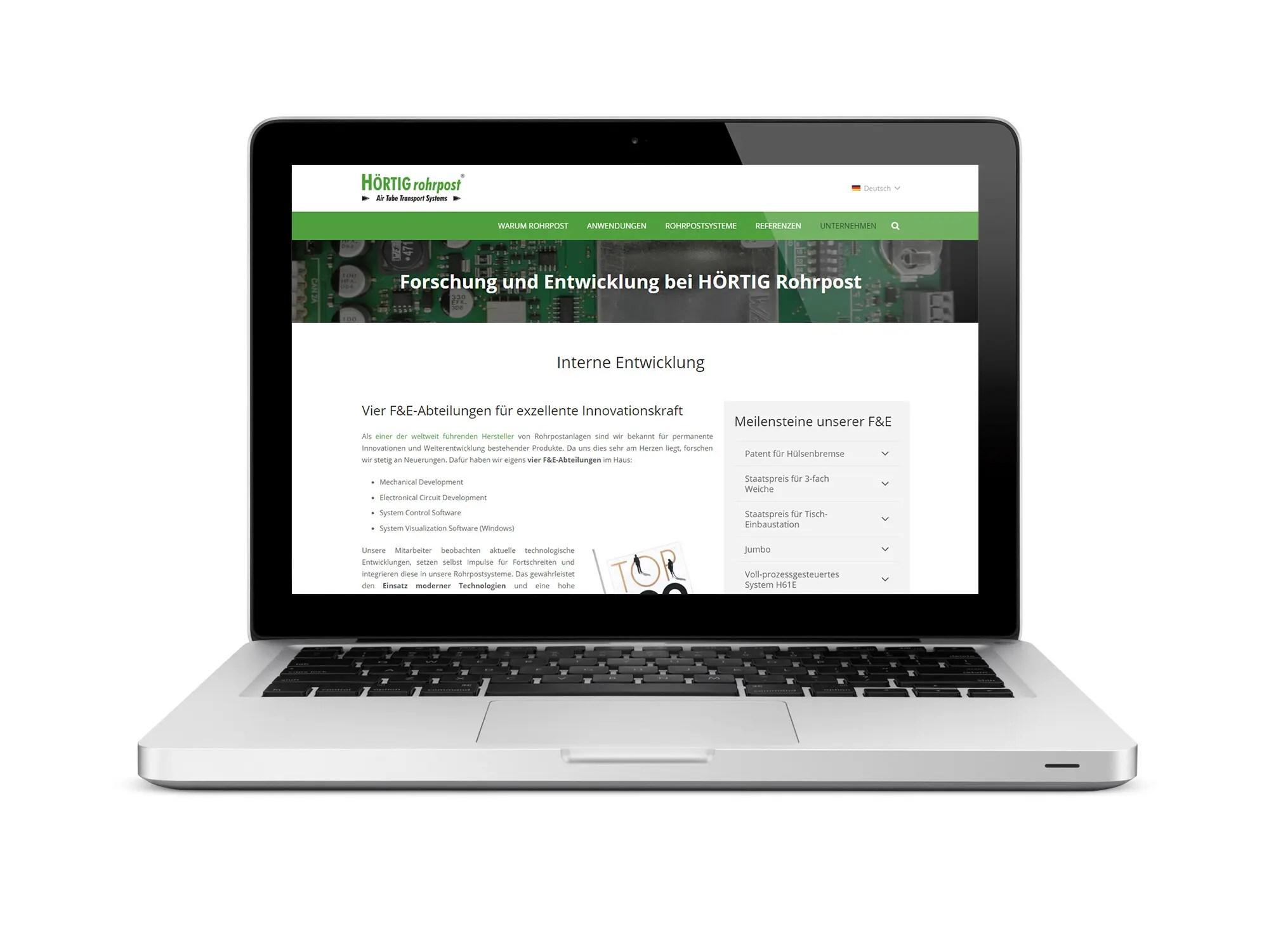 HÖRTIG Rohrpost launcht neue Corporate Website