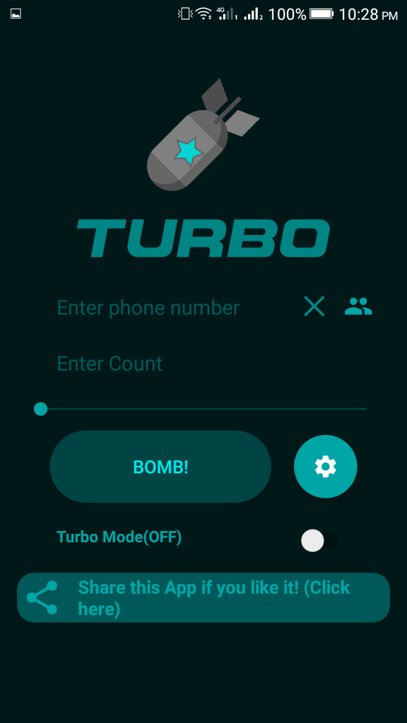 Screenshot of Turbo Bomber App
