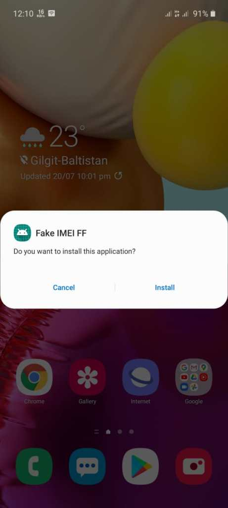 Screenshot of Fake IMEI FF