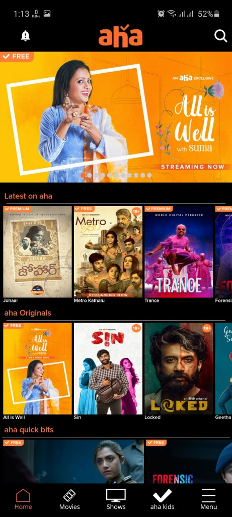 Screenshot of Aha Movie Apk