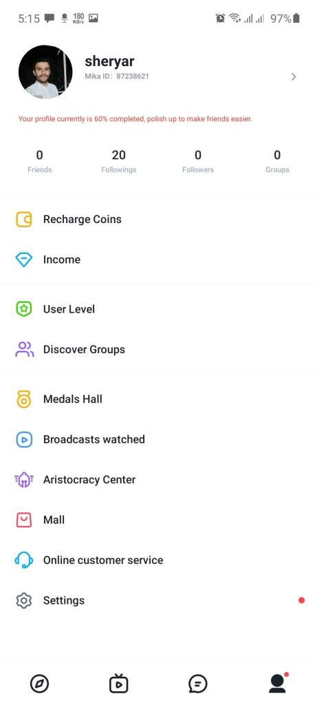 Screenshot of Global Live Chat App