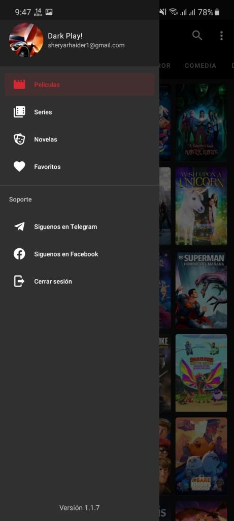 Screenshot of Dark Play App