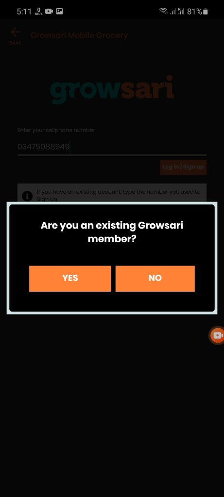 Screenshot of Growsari App