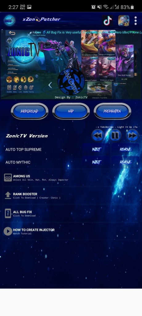 Screenshot of Zonic TV Injector
