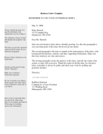 Business Letter Template 6