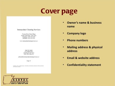 Business Plan Cover Page 6