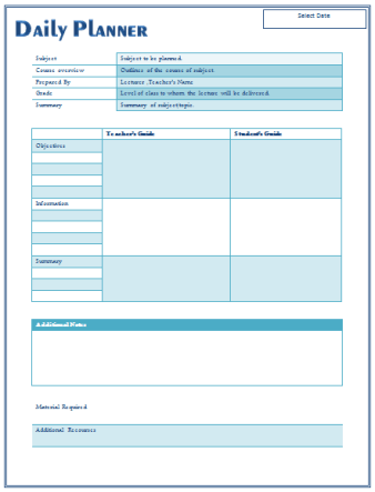 Daily Lesson Plan Template 8