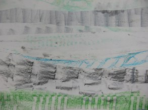 Experimenting with texture-rubbings trail