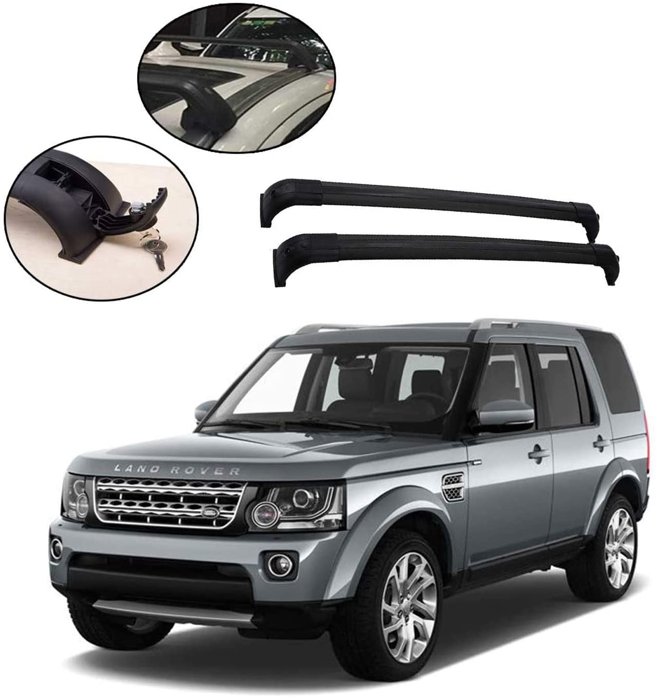 roof rack crossbars fits land rover discovery 4 lr4 2013 2016 with lockable aluminum roof rails cross bars black