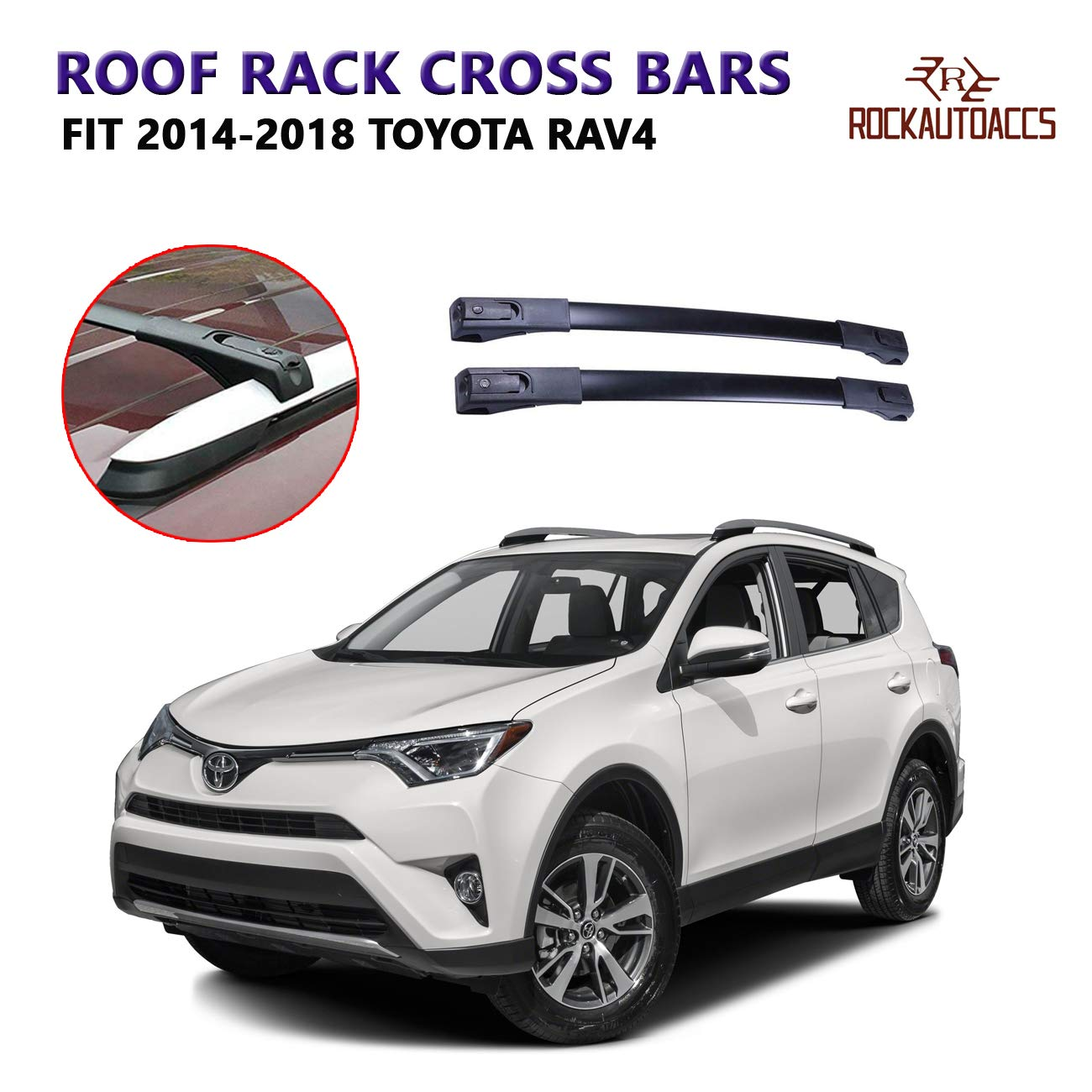 rokiotoex roof rack crossbars side rail cross bar fits 2014 2018 toyota rav4 xle limited factory raised roof rails lock key premium aluminum