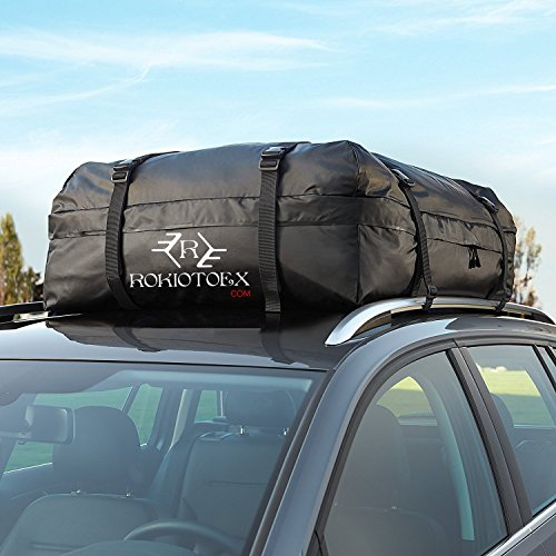 Rooftop Cargo Bag Straps To Crossbars Or A Roof Basket Fit For The Outdoor Elements Combo Large Size Anti Slippery Mat And Waterproof Canvas Cargo Storage Roof Bag With Mat Waterproof Carrier Bag