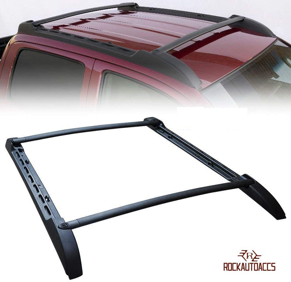 ROKIOTOEX Roof Rack Fit For 2005-2020 Toyota Tacoma Double Cab Aluminum Baggage Side Rails Bars Crossbars OEM Style 150Lbs Capacity Load Luggage Cargo Roof Cross Bars Black Tacoma