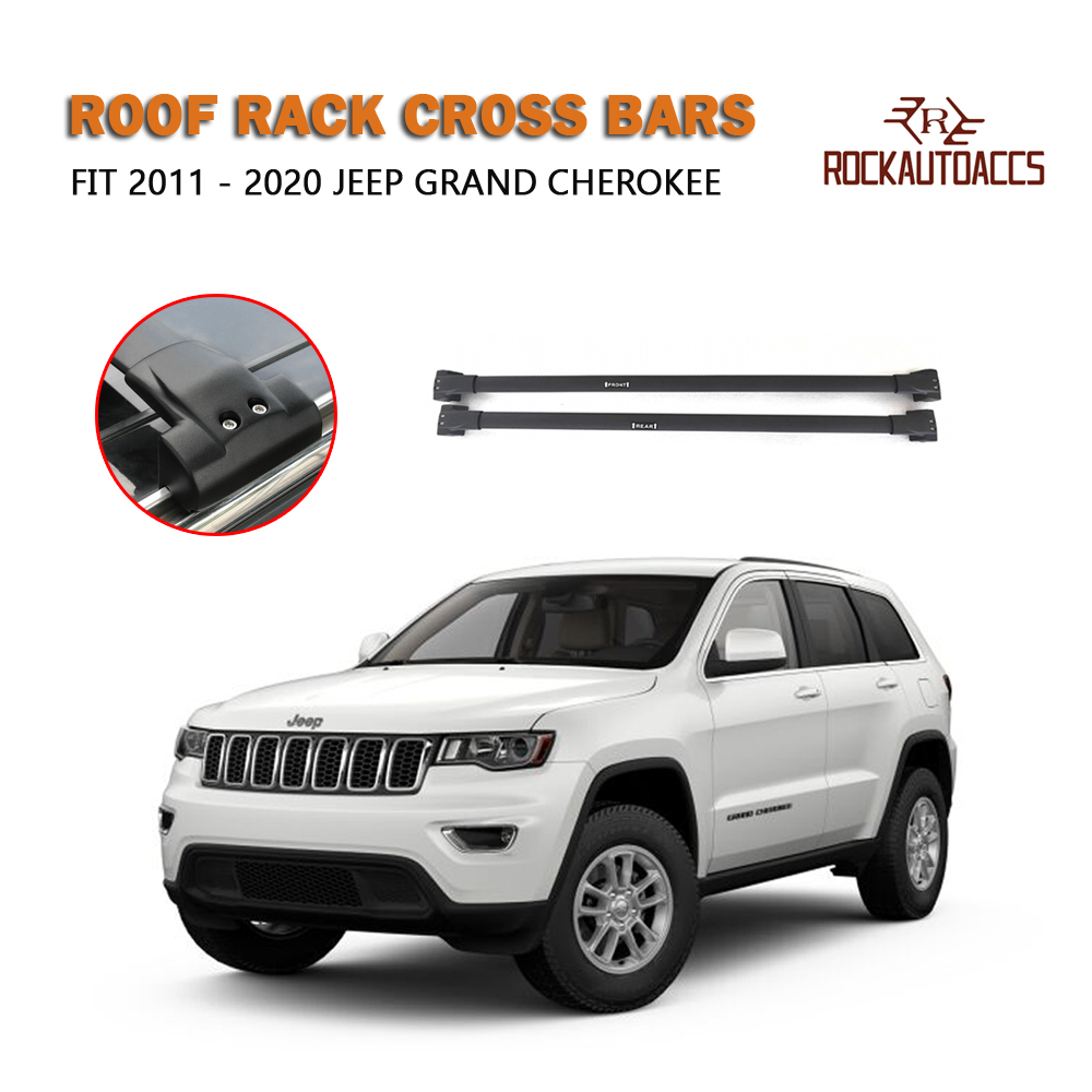 2014+ Black Cross Bars For Roof Rails To Fit Jeep Cherokee 100KG Lockable