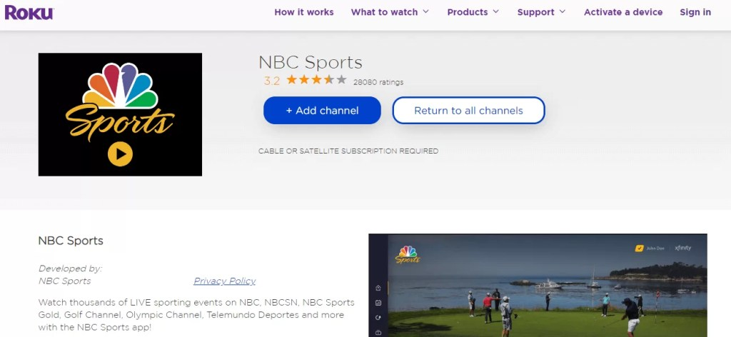 Add NBC Sports channel on Roku