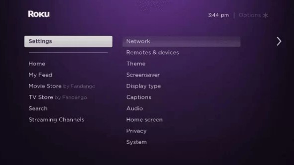 Click o Roku Settings