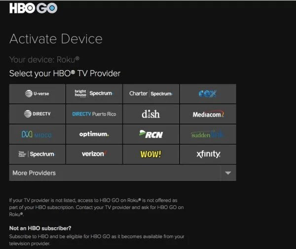 Select HBO TV Provider