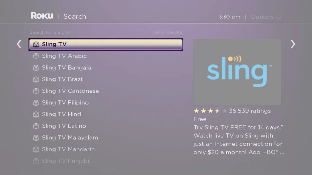 Download Sling TV on Roku