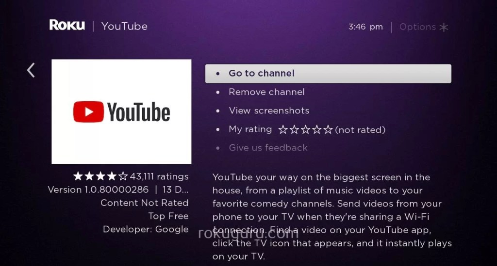 YouTube on Roku