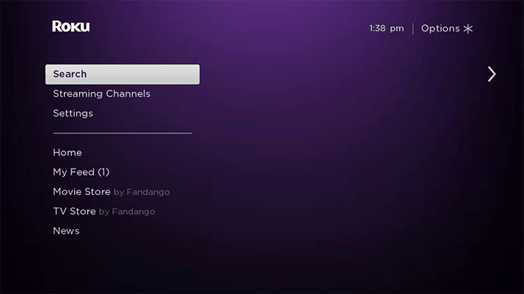 Find search option from the home menu