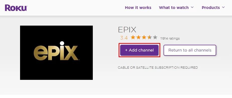 Add channel - EPIX ON ROKU