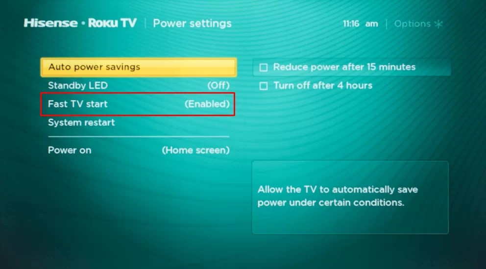 Enable fast TV start