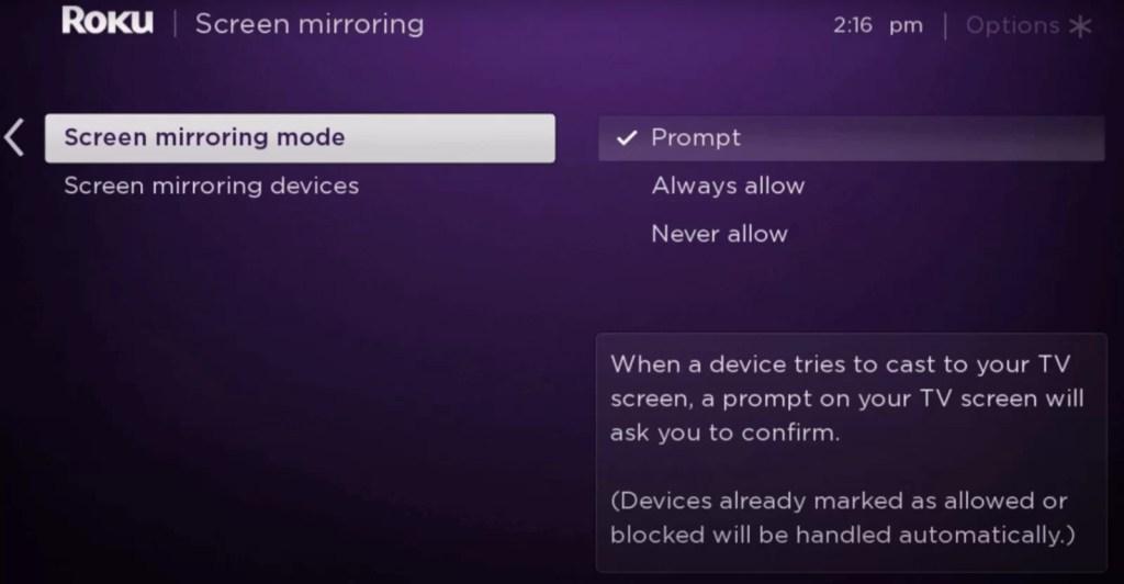 Mirroring mode