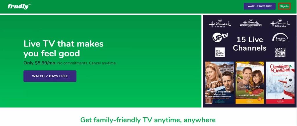 FRNDLY TV ON ROKU - sign in
