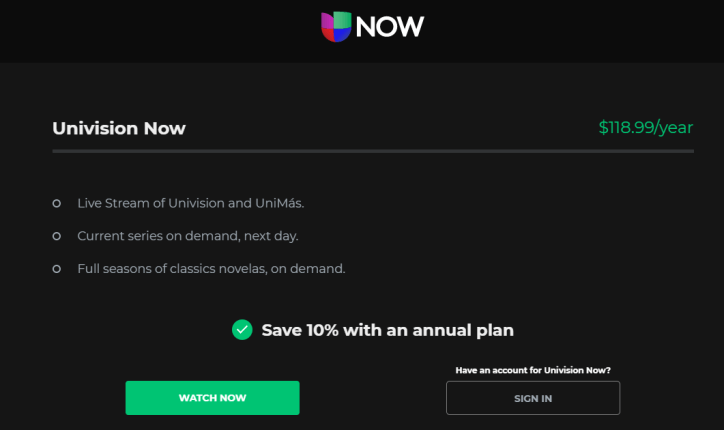UNIVISION ON ROKU - pricing
