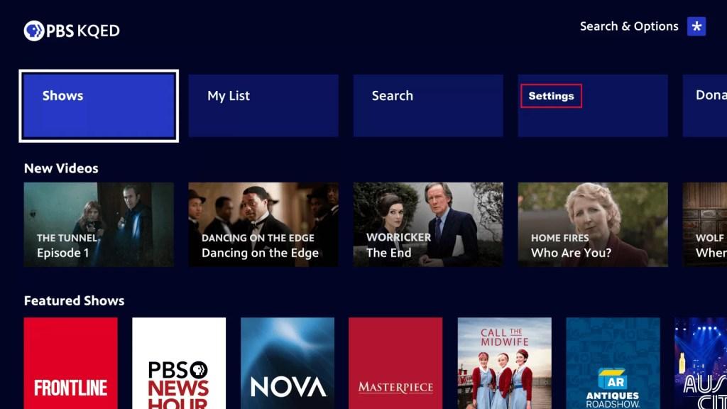 PBS ON ROKU - settings