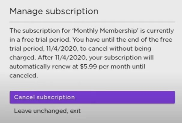 Click Cancel Subscription in the Manage subscription prompt