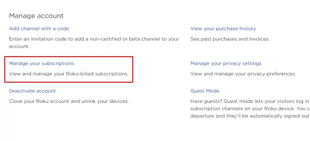 Click Manage your subscriptions - Cancel CBS All Access on Roku