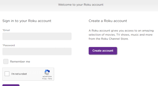 sign in to roku