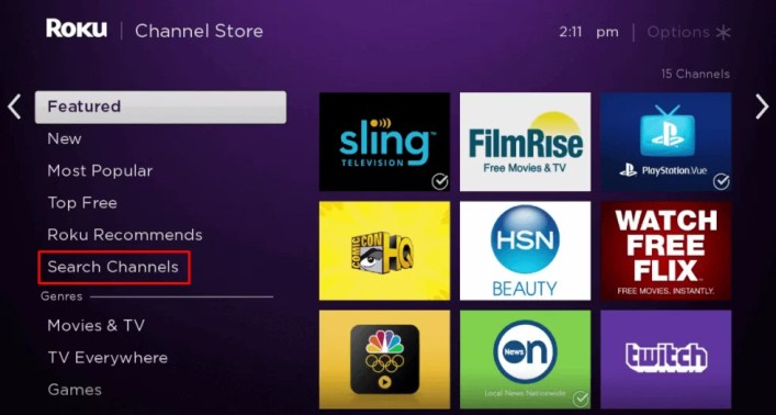 Select Search Channels - Super Bowl on Roku