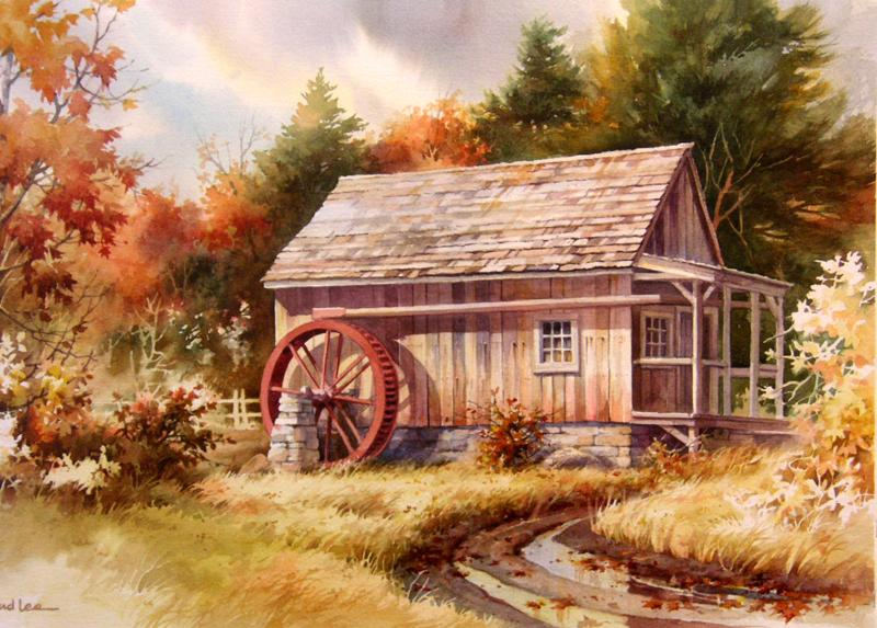 Fall Leaves Watercolor Wallpaper Little Mill House Roland Lee