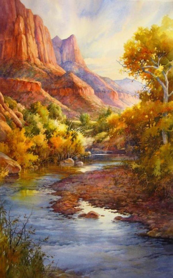 Virgin River Zion National Park Painting