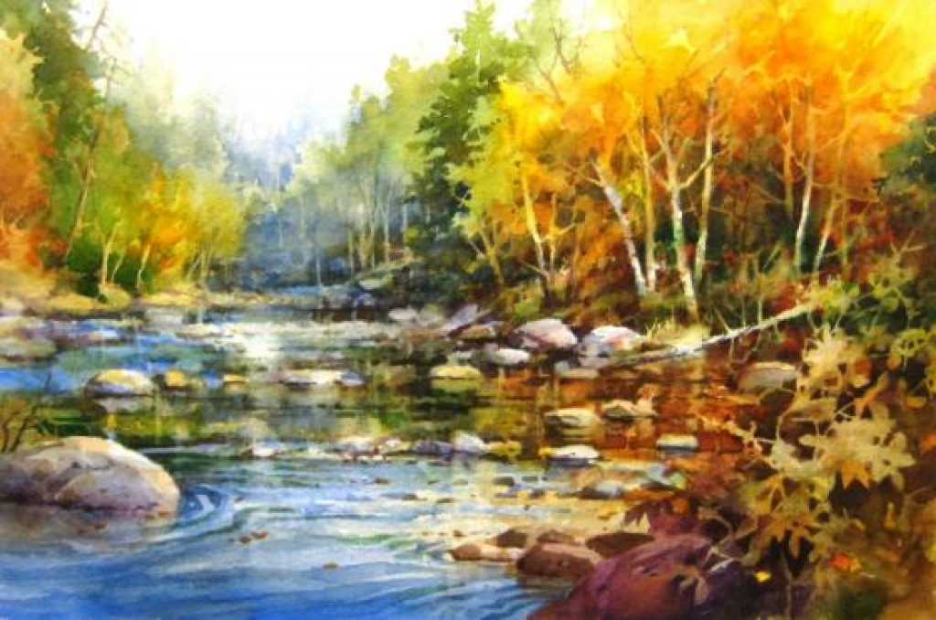 Fall Leaves Watercolor Wallpaper How To Paint Water Peaceful River Roland Lee