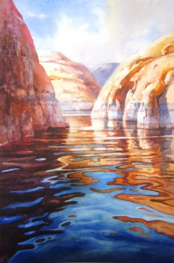Watercolor Painting Lake Powell