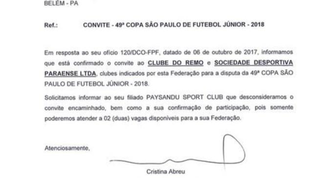 Federação paulista volta a trás e Paysandu perde vaga na Copa São Paulo 2018