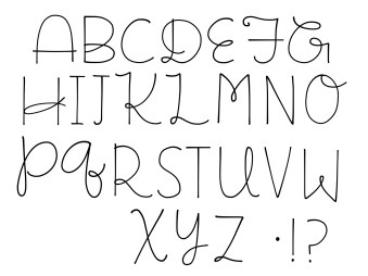 Simple doodle style font inspired by Flora Chang.