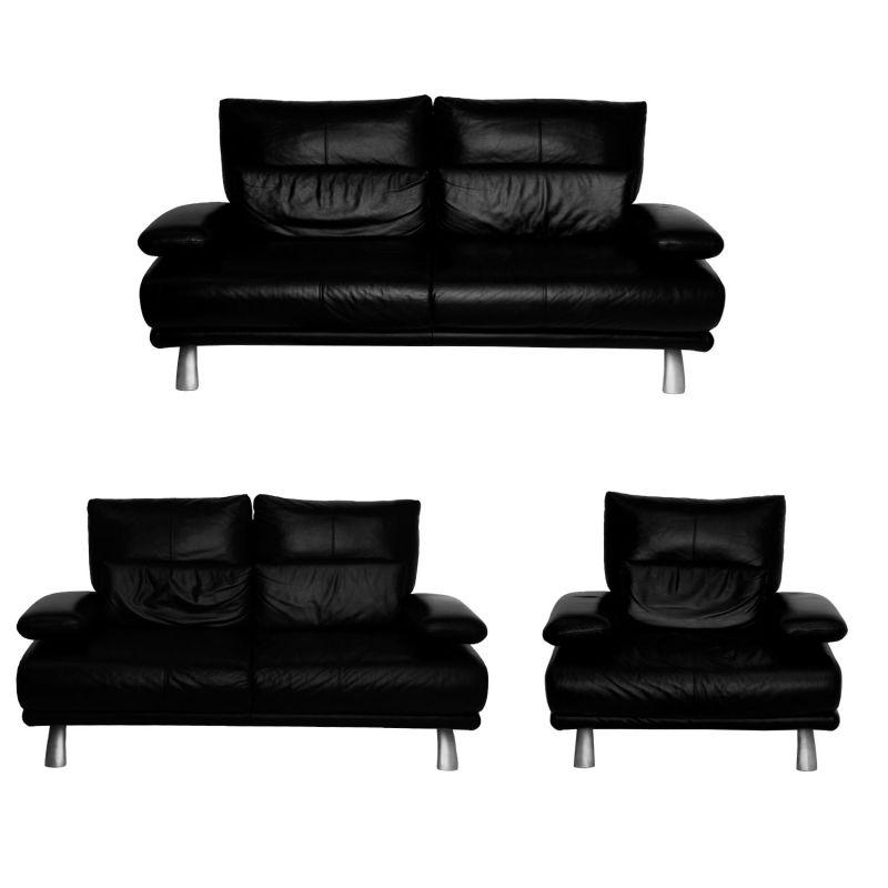 Schillig Leder Couch Garnitur, Schwarz » Rolinkde