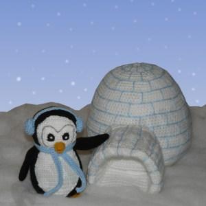 Amigurumi Pinguin Klaus mit Iglu