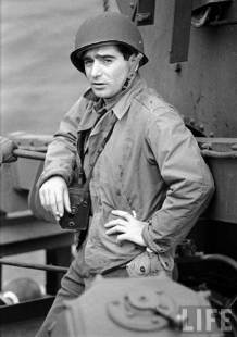 Capa after D-Day Landing with a Rolleiflex