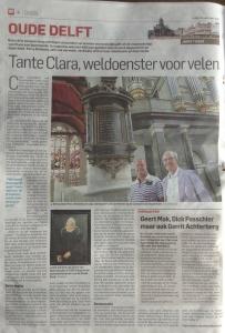 Krantenknipsel uit De Oude Delft met een interview over het leven van Clara van Sparwoude.