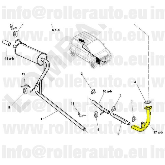 Mopedcar Spare Parts: Head pipe exhaust Microcar MC1 / MC2